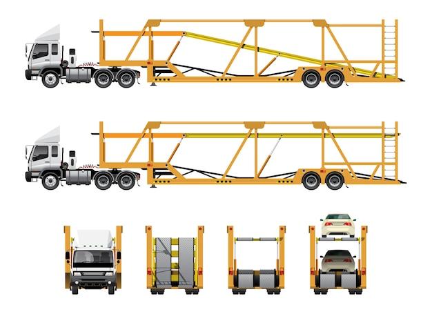 自動車輸送トレーラー Premiumベクター