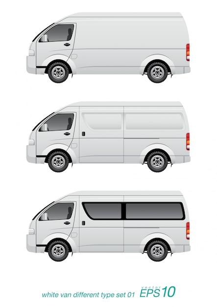 Белый фургон разного типа Premium векторы
