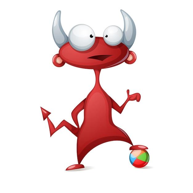 漫画の面白いかわいい悪魔 サッカーのイラストをプレイする