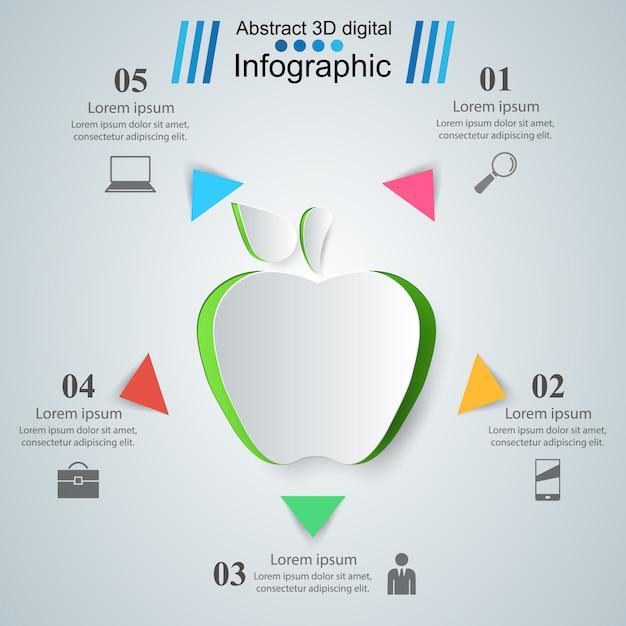 アップル、健康ビジネスのインフォグラフィック Premiumベクター