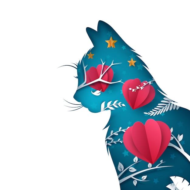 漫画の紙の猫のイラスト Premiumベクター