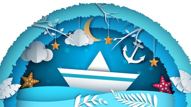 海の景観 Premiumベクター