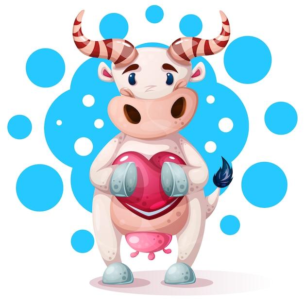 Милые, забавные, милые коровьи персонажи с сердцем. Premium векторы