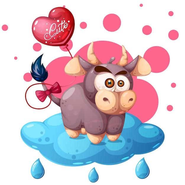 Мультфильм корова иллюстрации. облако, воздушный шар Premium векторы