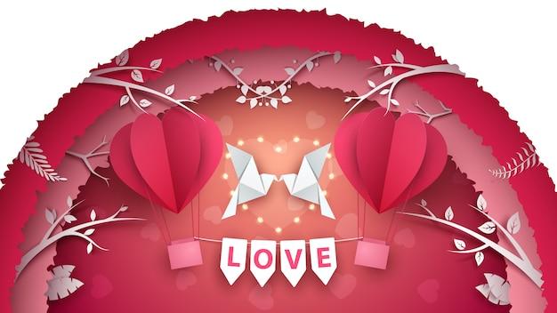 かわいい紙の気球。愛のイラスト Premiumベクター