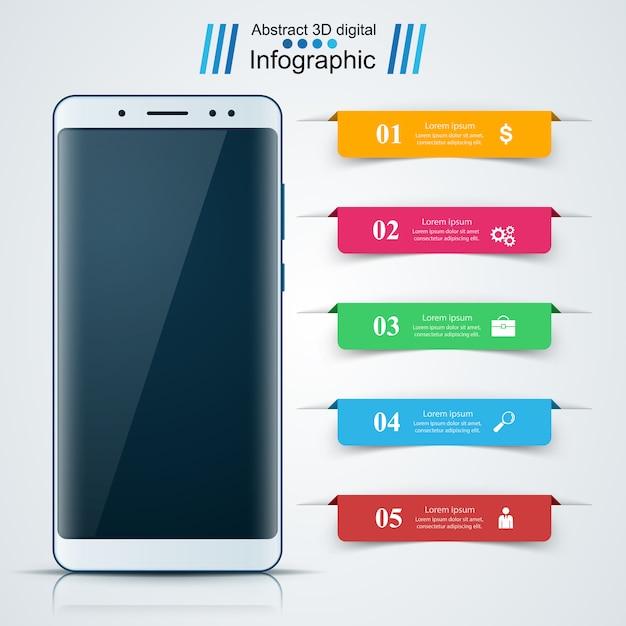 デジタルガジェット、スマートフォン。ビジネスのインフォグラフィック Premiumベクター