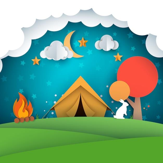 キャンプ、テントの図。紙の風景 Premiumベクター