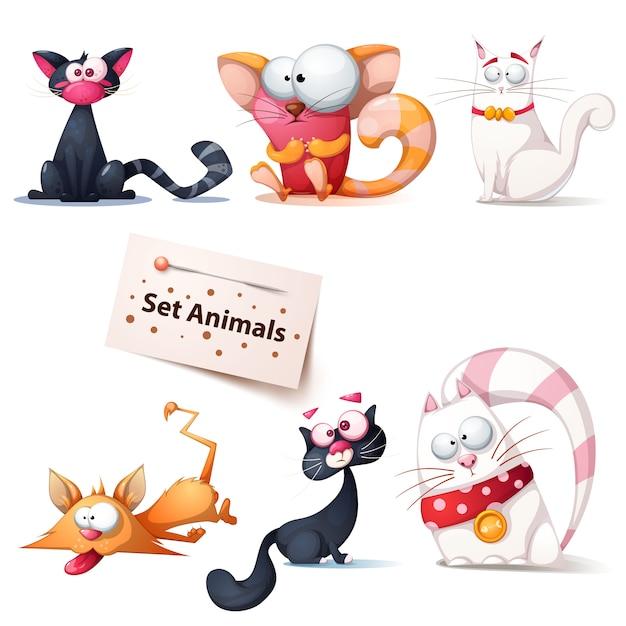 かわいい、面白い、狂気の猫イラスト Premiumベクター