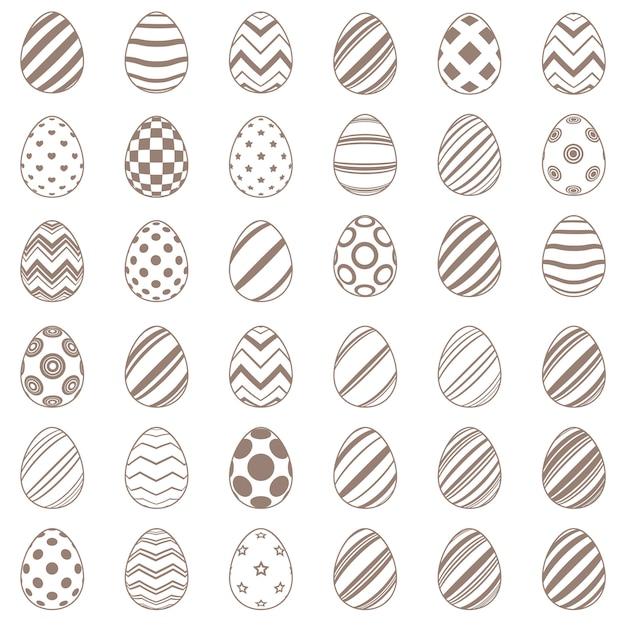 平らな卵のシンプルなアイコンを設定します。 Premiumベクター