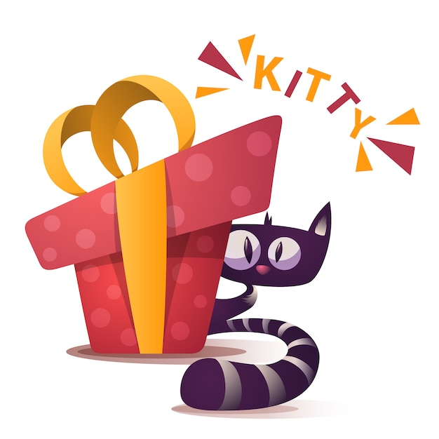 Милый котенок персонажей с красным подарком Premium векторы