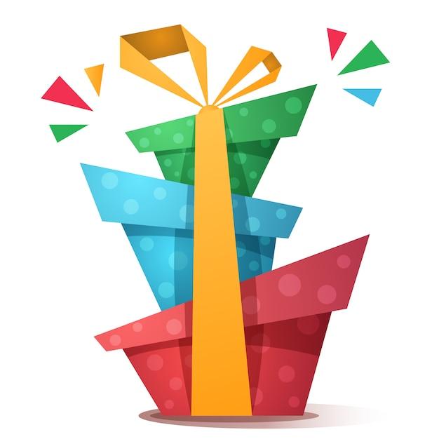 Красный с днем рождения подарок с бантом Premium векторы