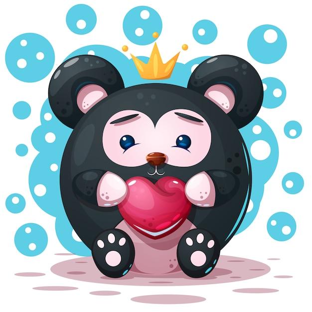 かわいい、面白い - 漫画のパンダのキャラクター Premiumベクター