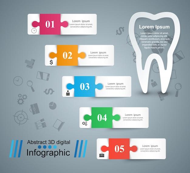 歯科のインフォグラフィック。 Premiumベクター
