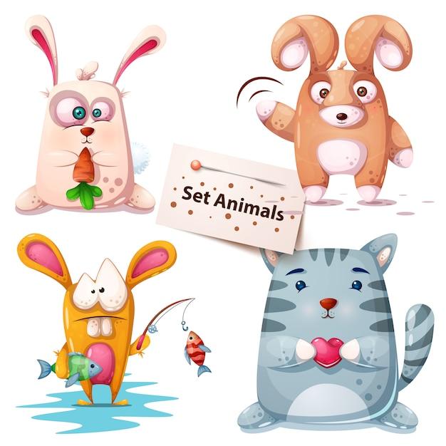 ウサギ、魚、猫 - 動物の設定 Premiumベクター