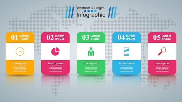 ビジネスインフォグラフィック折り紙スタイル Premiumベクター