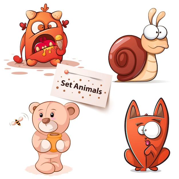 モンスター、カタツムリ、クマ猫 - 漫画のキャラクター Premiumベクター