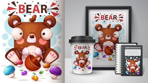 Милая иллюстрация медведя шаржа Premium векторы