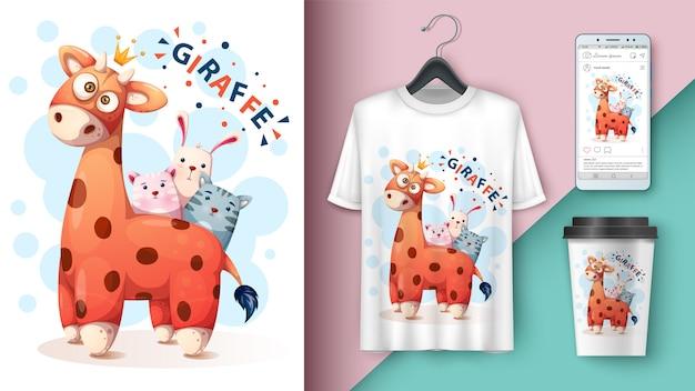Жираф, кот, котенок, кролик дизайн футболки Premium векторы