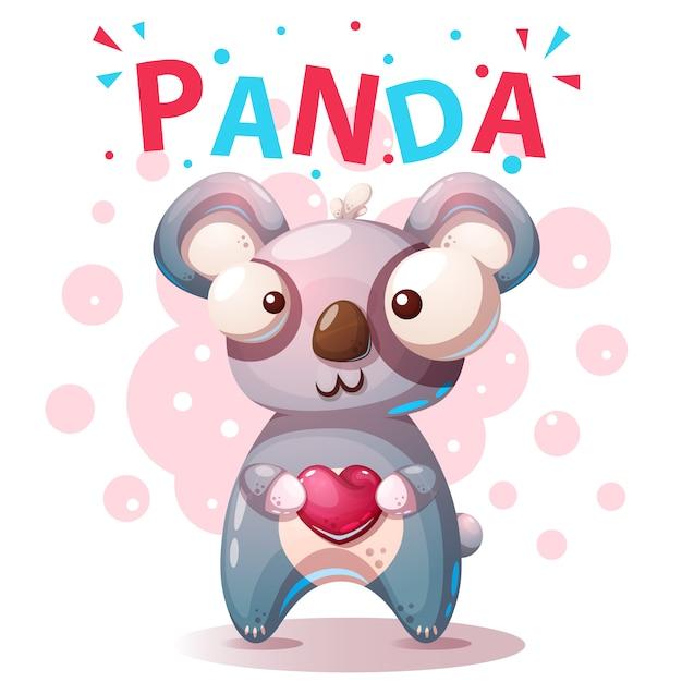 かわいいパンダのキャラクター - 漫画イラスト。 Premiumベクター