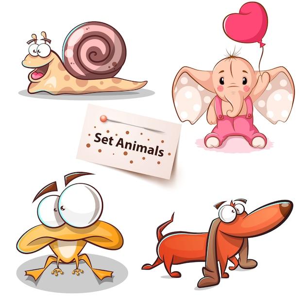 Улитка, слон, лягушка - набор животных Premium векторы