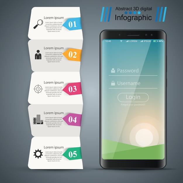 デジタルガジェット、スマートフォンビジネスインフォグラフィックテンプレート Premiumベクター