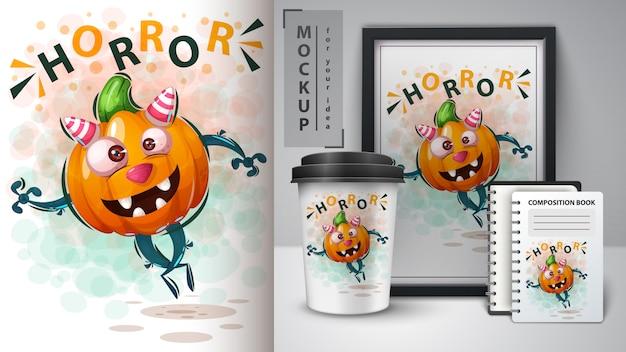 ハロウィンかぼちゃと商品販売 Premiumベクター