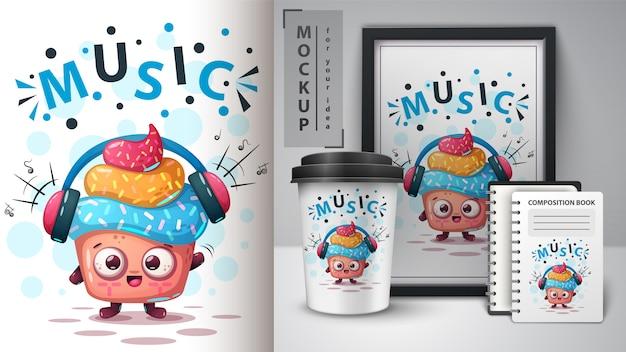 音楽ケーキのポスターとマーチャンダイジング Premiumベクター