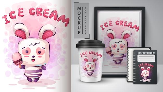 ウサギとアイスクリームのポスターとマーチャンダイジング Premiumベクター
