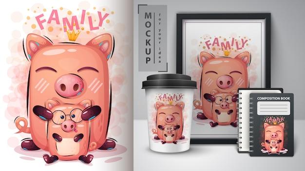 プリンセス豚のポスターと商品化 Premiumベクター