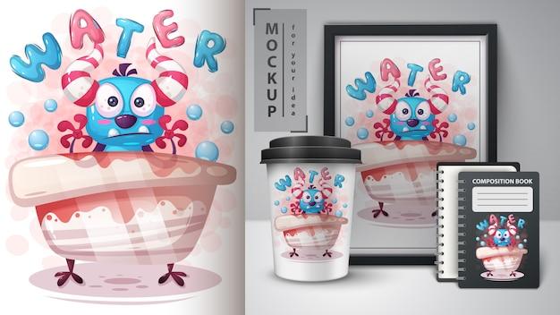 水モンスターポスターと商品化 Premiumベクター