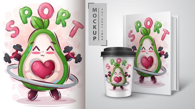 フィットネスアボカドのポスターと商品化 Premiumベクター