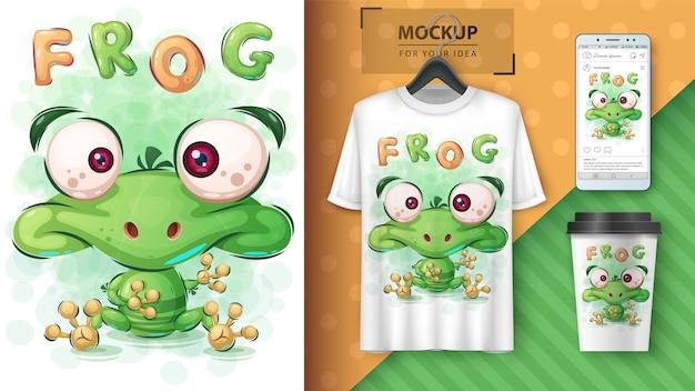 緑のカエルのポスターと商品化 Premiumベクター