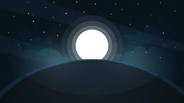 月の風景。スターと山。 Premiumベクター