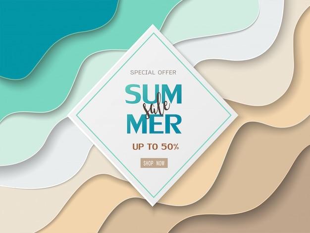 紙の上の夏のセールのバナーカット海とビーチ Premiumベクター