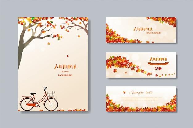 Коллекция природы осенней распродажи баннер с разноцветными листьями Premium векторы