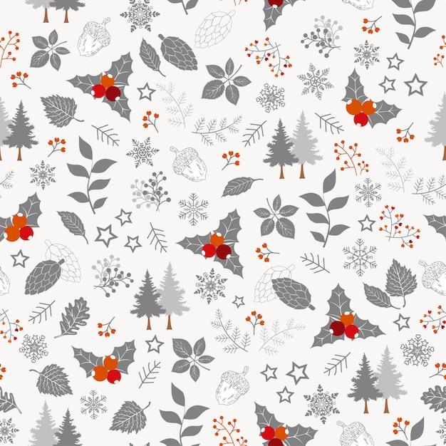 冬の休日のシームレスなパターン、クリスマス Premiumベクター