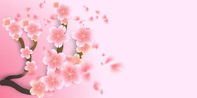 Вишневый цвет, сакура, высохший цветочный, падающий Premium векторы