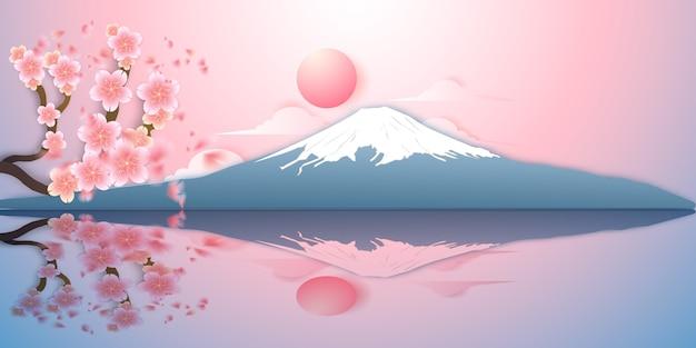 日本の風景、富士山、さくら Premiumベクター