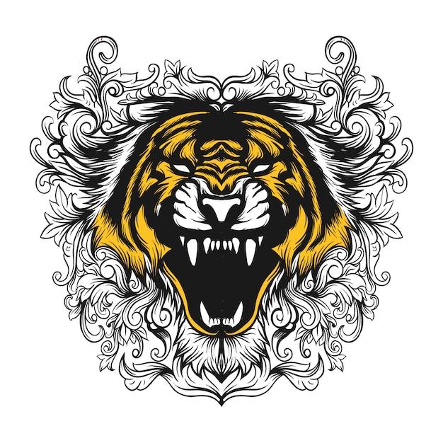 Цветочный тигр Premium векторы