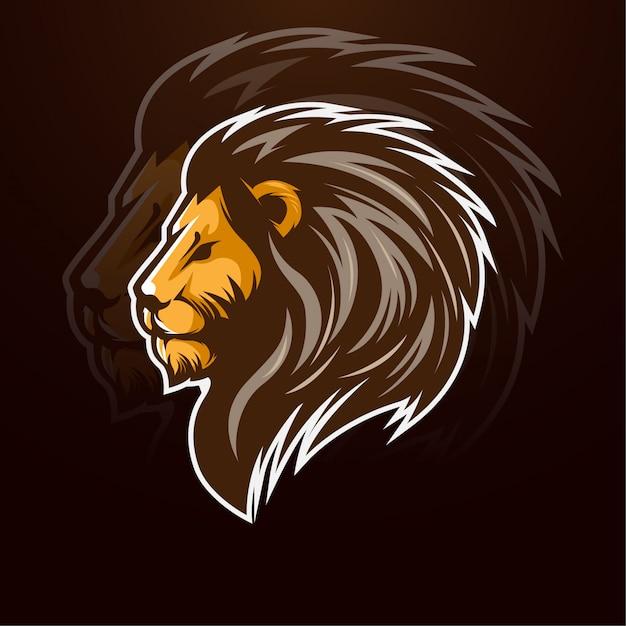 Элегантный дизайн животных талисман лев Premium векторы