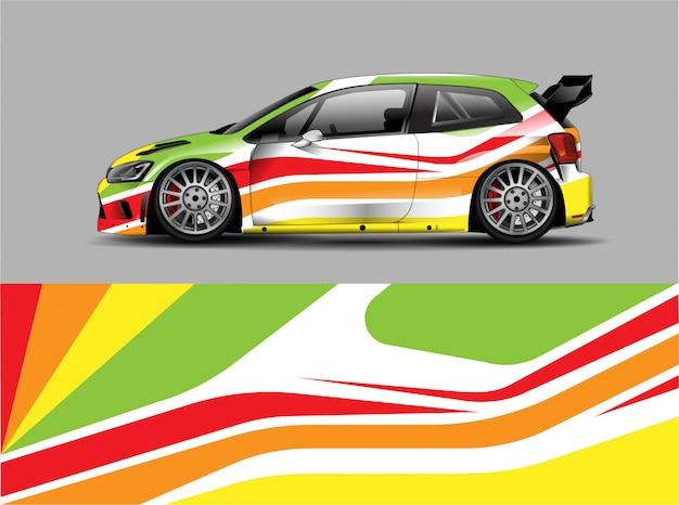 レーシングカーラップデカールデザインコンセプト Premiumベクター