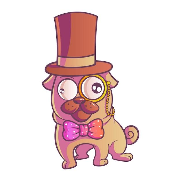 パグ犬のイラスト。 Premiumベクター