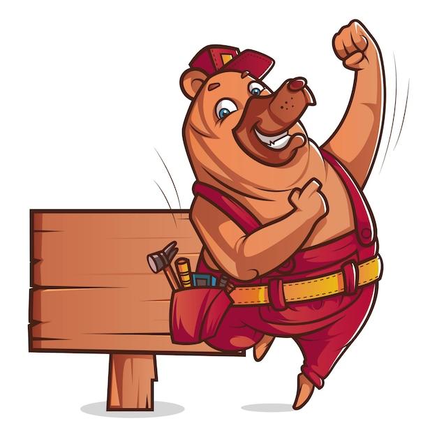 Иллюстрация шаржа шляпы милого медведя нося с деревянной доской. Premium векторы