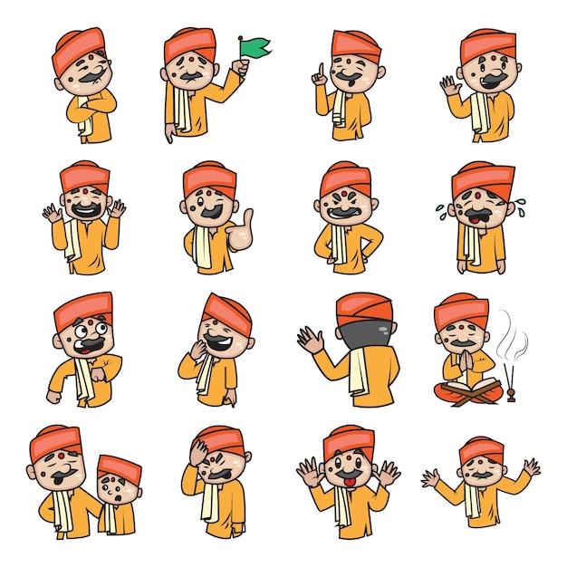 インドのパンディットセットの漫画イラスト。 Premiumベクター