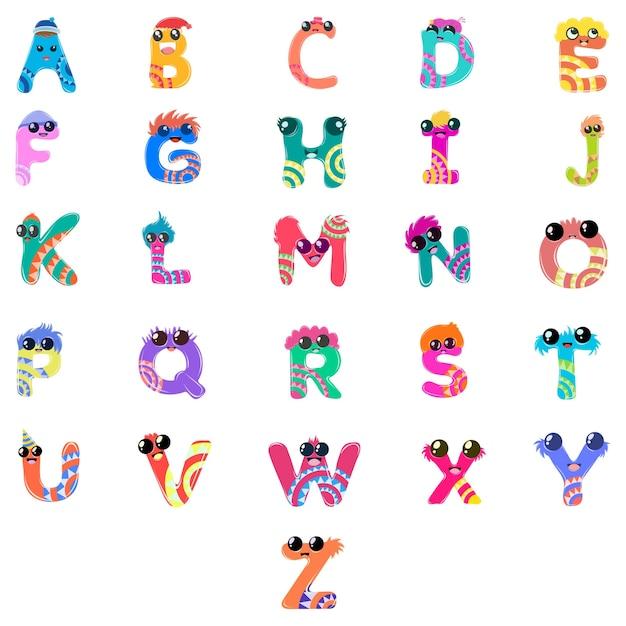 大文字のアルファベットセットの漫画イラスト。 Premiumベクター