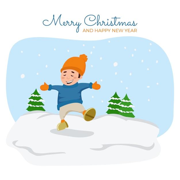 ベクトル漫画の実例。かわいい男の子は雪で遊んでいます。 Premiumベクター