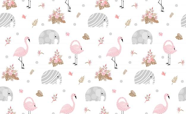 かわいい象とシームレスなパターン Premiumベクター