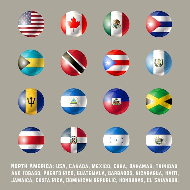 Северная америка круглые флаги Premium векторы