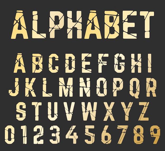 Сломанный шрифт алфавит Premium векторы