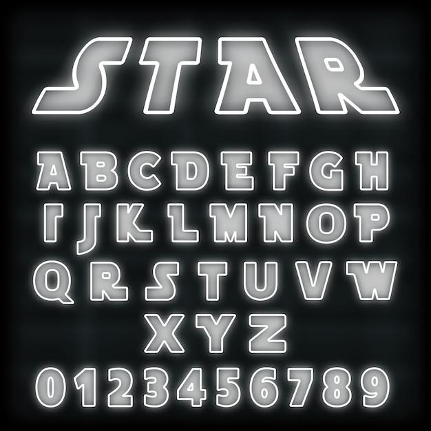 アルファベットフォントテンプレート Premiumベクター
